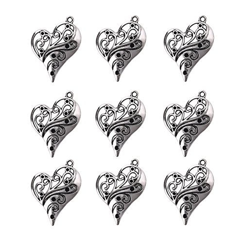 Obsede charms cuore in oro bianco forniture artigianali pendenti perline pendenti di fascini per i risultati dei monili che fanno accessorio 10pcs