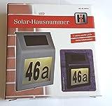 Numero civico, con 4 LED, in acciaio inossidabile, a energia solare, con numeri e lettere, 60210