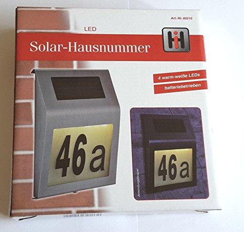 Edelstahl Solar LED Hausnummerbeleuchtung - 4 LEDs mit Zahlen und Buchstaben
