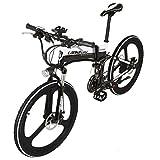 LANKELEISI xt750jy-26Zoll Faltbar eBike 48V Aufhängungs 5Gear 7Speed Lithium E-Bike Mountain-Electric Fahrrad Motor 240Watt, Schwarz-Weiß