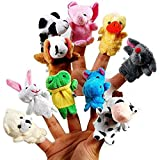 #6: FutureKart™ Animal Finger Puppet with Cotton, Multi Color (Pack of 10)