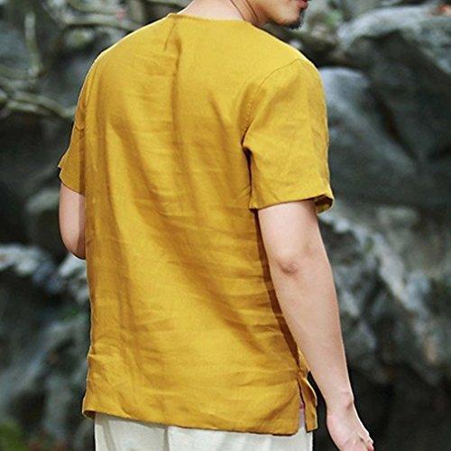 Honghu Herren Pankou Taste Kurze Ärmel T-shirt Gelb
