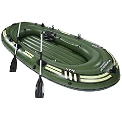 SZ5CGJMY ® Heavy duty 4 Person Inflatable Raft Dinghy fishing Boat Set Maximum weight 300kg Green