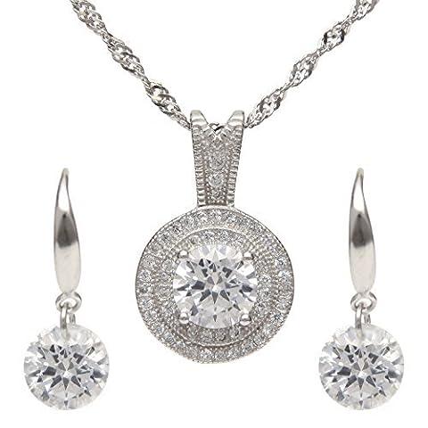 1,25ct AAA Oxyde de Zirconium Collier et boucles d'oreilles Ensemble de bijoux