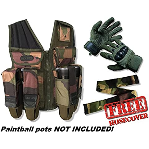 deniable-ops Paintball Assault Gilet in Woodland Camo