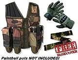 deniable-ops Paintball Assault Gilet sans manches pour homme en Camouflage Woodland avec deniable-ops Spearhead Gants en vert olive + sans tuyau pour télécommande Contenu–Assault Gilet sans manches pour homme permet d'accueillir Pots et réservoir