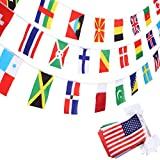 SATINIOR Banderas de 200 Países Banderas Internacionales Banderas Olímpicas Guirnalda de Banderas para Bar, Aula, Decoración de Fiesta Olímpica, Club Deportivo, Celebración de Eventos Internacional
