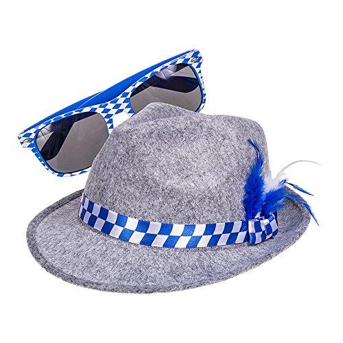 Oktoberfest Bayrischer Hut & Sonnenbrille (Blau/Weiß)