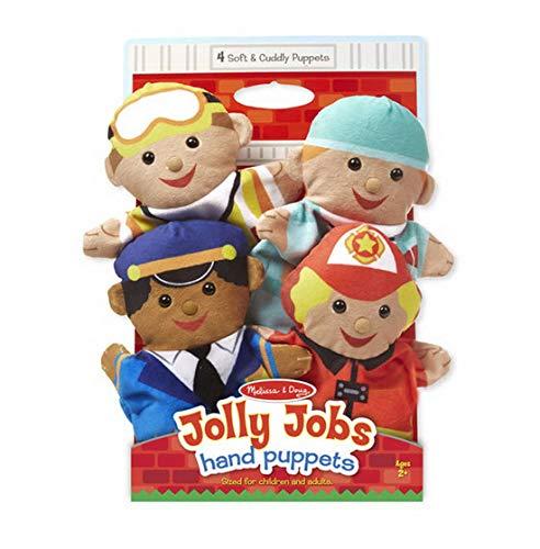toybakery Melissa & Doug - Kinder Handpuppen-Set für Das Kasperle Theater, 4-teilig, Polizist, Arzt, Feuerwehrmann, Bauarbeiter, Mehrfarbig