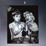 Raybre Art Schöne frauen Marilyn Monroe und Audrey Hepburn tattoos Leinwand Wand Kunstdrucke Ölgemälde Re-Print Home Dekoration Bilder größe: 40 cm x 60 cm