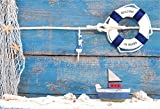 AOFOTO 7x5ft Nautical Style Backdrop Mariner Seafaring Photography Background Wood Board Ship Life Buoy Shell Boat Kid Sailor Baby Artistic Portrait Photo Shoot Studio Props Video Drop Wallpaper Drape