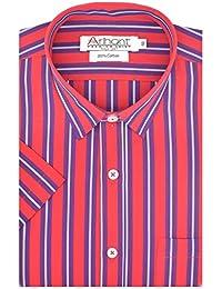 Arihant Men's Striped Half Sleeves Reguler Fit 100% Cotton Formal Shirts