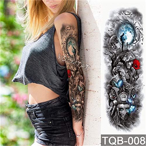 Arm Ärmel Tattoo wasserdicht temporäre Tätowierung Aufkleber Schädel Engel Rose Lotus Männer voller Blume Tattoo Body Art Tattoo Mädchen 2Pcs-21 ()