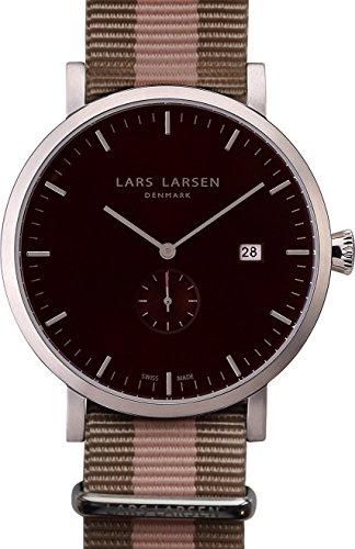 Lars Larsen Sebastian Hombre Reloj de cuarzo con Negro esfera analógica pantalla y correa de tela multicolor 131sbsn