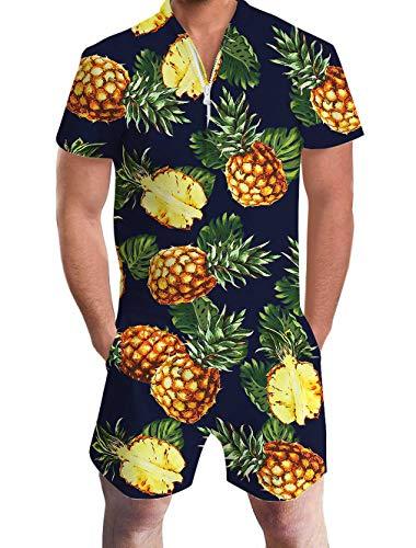 f4d56c8b4bf3 Goodstoworld Mens Romper Suits 3D Pineapple Dark Blue Print Zip Up Jumpsuit  Summer Grandad Shirt Cargo