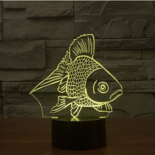 Der Fisch Kostüm Regenbogen - Neue 3D Fisch 7 Farbwechsel Kreative Touch Schalter e Nachtlicht Als Hauptdekoration Vision Stereo Lampe han-10433