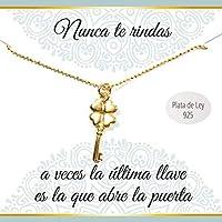 Colgante Llave de la suerte de Plata de Ley chapado en Oro amarillo | Collar con mensaje | Regalos especiales | Colgante amuleto de la Suerte| Envío gratis