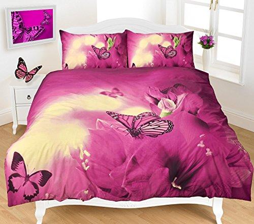 Luxus und modern 3D Schmetterling/Bettbezug & Kopfkissen Bettwäsche Set-Panel Range, 50 % Baumwolle / 50 % Polyester, pflaume, Doppelbett -
