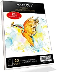"""MISULOVE 6.1X8.7"""" Watercolor Paper Pad, Cold-Pressed, Acid-Free, Ideal for Watercolor Painting and Wet Me"""