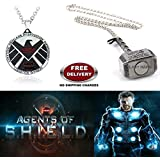 (2 Pcs AVENGER SET) - AGENTS OF S.H.I.E.L.D & THOR HAMMER (SILVER) IMPORTED PENDANTS. LADY HAWK DESIGNER SERIES 2018. ❤ ALSO CHECK FOR LATEST ARRIVALS - NOW ON SALE IN AMAZON - RINGS - KEYCHAINS - NECKLACE - BRACELET & T SHIRT - CAPTAIN AME