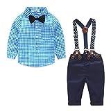 Ropa Bebé niño, Amlaiworld Bebé niño Rejilla de impresión Tops + Pantalones Ropa Conjuntos 0-24 Mes (Tamaño:6-12Mes, Azul)