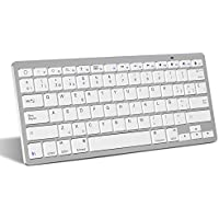 OMOTON Bluetooth Teclado Español Ultra-Delgado Mini para iPhone/iPad Air/iPad Pro/iPad Mini y Todas Sistemas de iOS,No se Adapta a Macbook (Blanco)