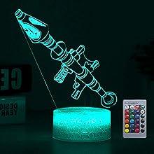 3D Fortnited lampada Battle Bus RGB Mood Lamp 7 color base luce acrilico stereo illusione LED tavolo lampada da comodino Crack Rokter Launcher