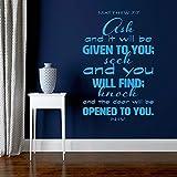 haochenli188 Citation Religieuse Verset de la Bible Matthieu 7: 7 des Questions Vous seront posées et Vous recevrez des Stickers muraux en Vinyle Home Decor Art Mural57x87cm