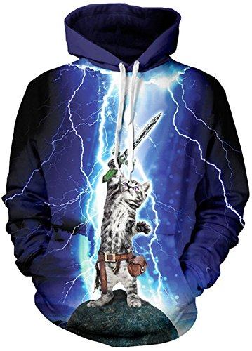 TDOLAH Damen Herbst Winter Kartoon Sweatshirts Spaß Textildruck mit Kapuze Pullover Strickjacke (Größe L / XL, Katze mit Schwert) (Halloween Express Kostüme)