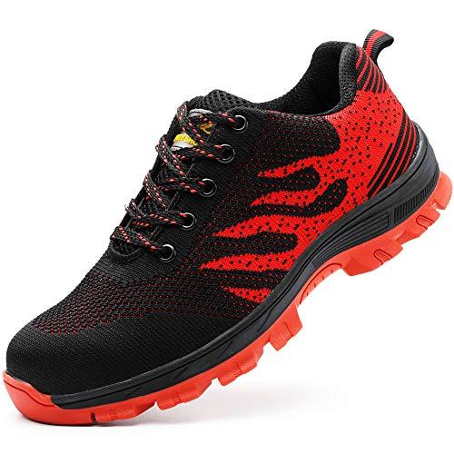 Scarpe da Cantiere Donna Uomo Leggere Sneaker da Lavoro Antinfortunistiche con Punta in Acciaio Scarpe da Trekking per L'Estate all'aperto Rosso 35