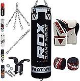 RDX 8PC Sac De Frappe MMA Set De Boxe 4FT 5FT Lourd Mural Rempli Pied Poing Kickboxing Cible Crochet De Plafond