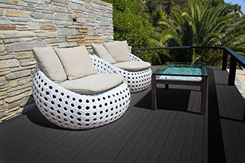 SAM® Mattonelle in WPC ad incastro per terrazzo, set di 22 pezzi di circa 2 m², colore grigio antracite, con 4 listelli, pavimentazione per balcone con struttura di drenaggio sottostante - 6