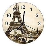 Glasuhr von DekoGlas 30cm runde Bilderuhr aus Acrylglas mit lautlosem Quarzuhrwerk Glaswanduhr Dekouhr Uhr Wanduhren aus PMMA Küchenuhr Glasbilder Wanddekoration Paris grau