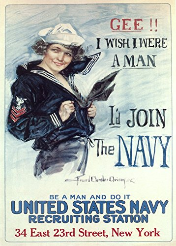 Vintage USA Weltkrieg, Rekrutierung GEE &1914-18 Propaganda! I WISH I WERE A MAN GeF. I'D JOIN THE NAVY, 250gms, Glänzend, A3, Vervielfältigtes Poster -