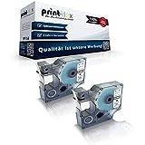 2x Kompatible Schriftbänder für Dymo D1 40913 Labelwriter400Duo 1000 Plus 2000 3500 5500 Pocket S0720980 9 mm x 7m Farb Kassette schwarz-weis - Easy Print Serie