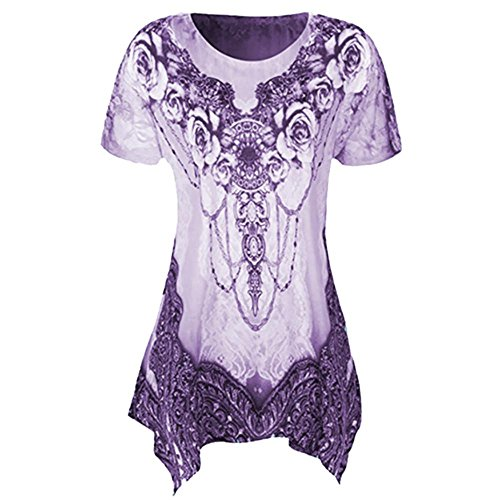 SEWORLD Damen Sommer Lässige O-Ausschnitt Plissee Übergröße Kurzarm Milchseide Drucken Bluse Top Tunika Shirt (4XL, Lila)