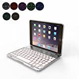 OBOR Aluminiumlegierung iPad Mini Keyboard Case - 7 Farben Hintergrundbeleuchtung Flip Wireless Bluetooth Tastatur Schutzhülle für iPad Mini 4 (Silber)