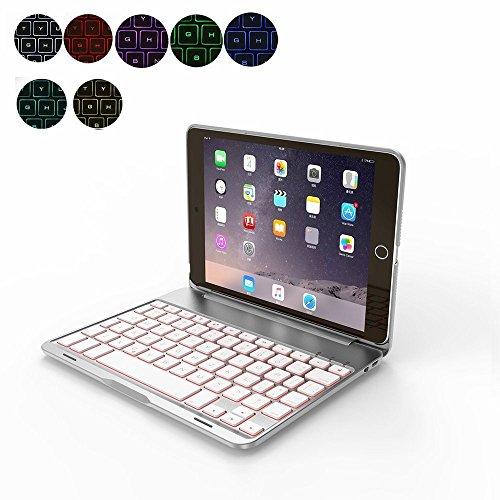 OBOR Aluminiumlegierung iPad Mini Keyboard Case - 7 Farben Hintergrundbeleuchtung Flip Wireless Bluetooth Tastatur Schutzhülle für iPad Mini 4 - 4 Fall Tastatur Mit Ipad