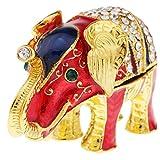 D DOLITY Elefante Joyero Cristalino de Rhinestone Recuerdo de Turismo Amigos - Rojo