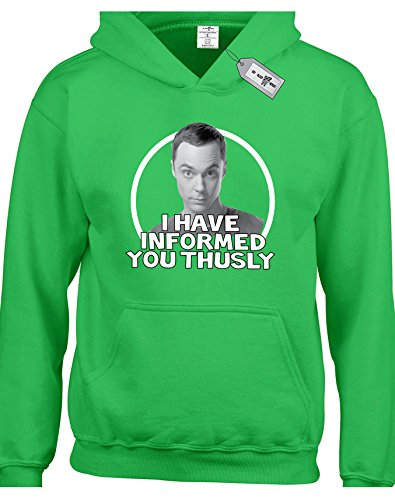 Sheldon Cooper I Have Informed You Thusly Inspired by The Big Bang Theory Kids Childrens Boys and Girls Hoodies. Free delivery included.