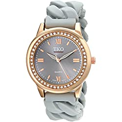 TKO Women's Round Rose Gold Metal Crystal Bezel Grey Stretch Expansion Rubber Chain Link Roman Numeral Watch TK640RGY