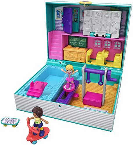 Mattel- Polly Pocket-Cofre Vamos al Cole, muñeca con...