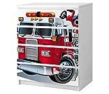 Set Möbelaufkleber für Ikea Kommode MALM 4 Fächer/Schubladen Kinderzimmer Feuerwehr Feuerwehrauto Kat2 Boy ML4 Aufkleber Möbelfolie sticker (Ohne Möbel) Folie 25B2661