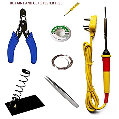 HRDEALS Buy 6 in 1 Economy Soldering iron Kit/electric Soldering iron kit 6 in1 and Get Free One Tester