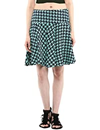 Abiti Bella Women's Green & Blue hounstooth Fit & Flare Skirt