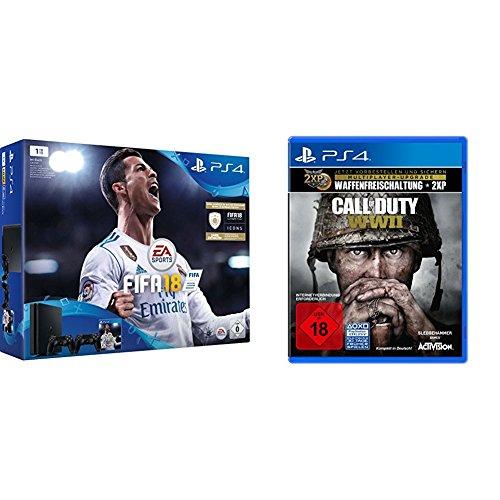 PlayStation 4 - Konsole (1TB, schwarz, slim) inkl. FIFA 18 + 2 DualShock Controller + Call of Duty: WWII