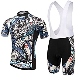 SKYSPER Men Jersey + Shorts Short Sleeves Cycling Clothing Breathable Maillot for Outdoor Sports Bicycle Cycle