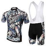 Skysper Hombres Jersey + Pantalones cortos Mangas cortas de Ciclismo Ropa Maillot Transpirable para...