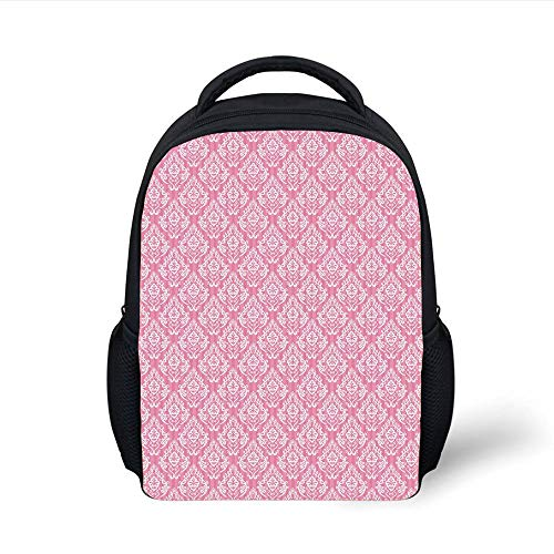 Kids School Backpack Light Pink,Classic Victorian Style Damask Baroque Fashion Rococo Renaissance Pattern,Baby Pink White Plain Bookbag Travel Daypack -