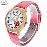 Weihnachtsuhren,Moonuy Mode & Casual Weihnachtsmann Uhren Ältere Muster Holzmaserung Denim Band Analog Quarz Vogue Uhren in 9 Farben (F)